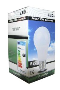 LED E27 10W A60 4000K Dimmable